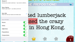 Choose from 3 different modes and quiz various parts of speech.