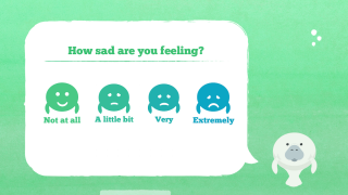 After choosing an emotion, students decide the extent to which they are feeling that emotion.