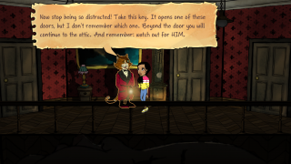 Creepy characters give hints and present additional puzzles to solve.