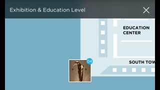 An interactive map lets users match up audio features with different exhibits.