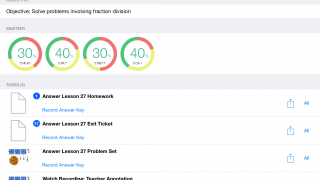 Teachers can use their dashboard to view their students' performance across assignments and standards.