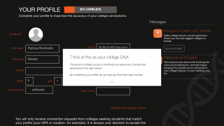Students select their grade level, fill out a brief profile, and then take practice tests and explore colleges.