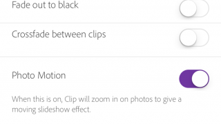 Project settings include some basic effects like fading in and out.