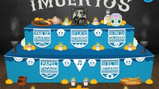 Five activities include a recipe for pan de muertos, decorating sugar skulls or paper cut outs, placing a photo in a frame, and arranging it all on the altar.