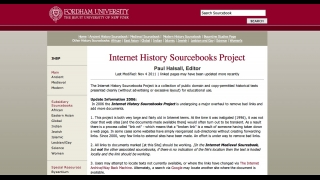 The site's homepage lists the various historical topics that are covered.