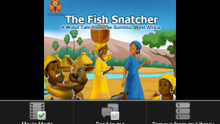 """First page of """"The Fish Snatcher,"""" showing menu at bottom: Movie Mode, which advances pages automatically, is selected, and Read to Me mode is off."""