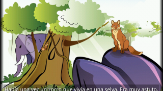 """A page from the Spanish language folktale title """"El Zorro Azul."""""""
