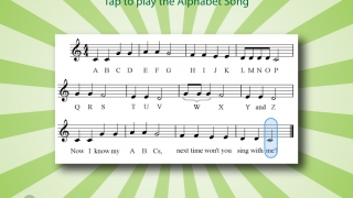 Bells play the ABC song as kids tap along.