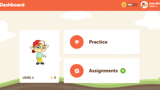 The student dashboard shows kids their avatar and if they have any assignments from the teacher.