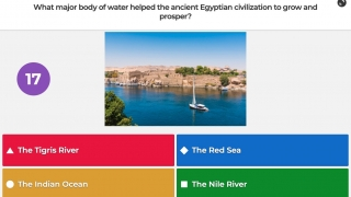 Quiz questions can include an image or video and a variety of response options.