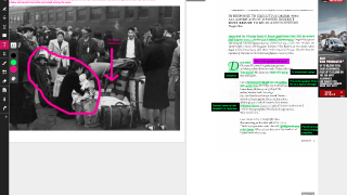 Use the side-by-side feature to annotate pictures and text.