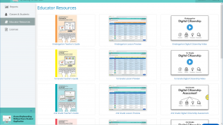 The teacher dashboard gives access to guides and additional material.