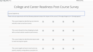 A post-course assessment asks students to evaluate how helpful the content was.