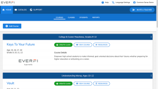 Teachers can add or manage courses from the teacher dashboard.
