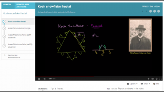 """The """"Koch snowflake fractal"""" video explains a challenging geometry problem."""