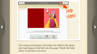 Easy-to-use photo editing software in-app makes it super easy to take just the kids' image from a picture to use in the book.