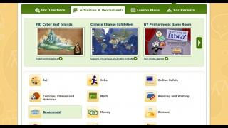 Educator resources in the teacher and parent section include lesson plans and activities.