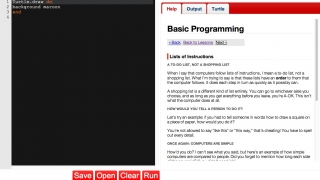 The application offers information on how programming works and about the Ruby programming language.