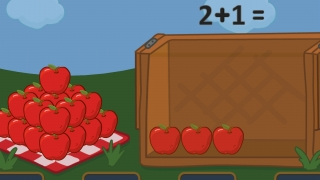 Kids practice addition by putting apples in the box and then choosing the corresponding equation.