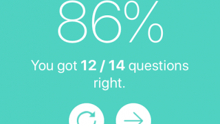 At the end of each quiz, students receive a percentage grade.