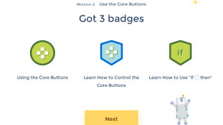 Kids earn badges as they complete designs and activities.