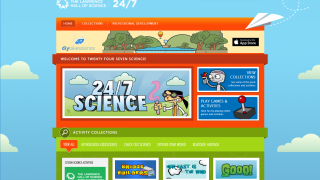 A colorful interface pulls students in right away to select from science activities.