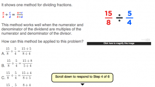 """Step four demonstrates how to simplify dividing two fractions; kids can answer this question or click on """"hint"""" for more help."""