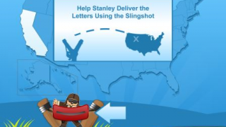 Easy directions instruct kids to slingshot Stanley across the U.S. map.