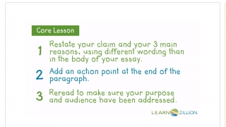 A video lesson on writing persuasively reviews the important points to include in a concluding paragraph.