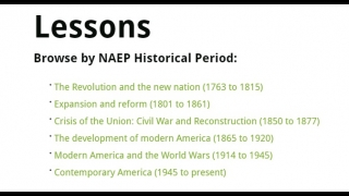 Eighteen lessons on major eras in United States History.