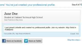 The profile creation process is pretty much the same as LinkedIn for adults.