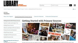 From the Teachers tab, primary sources, lesson plans, and support are all readily available.