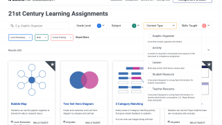 The assignment creator lets teachers filter classroom-friendly templates to find lesson ideas.