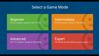 Select one of four difficulty levels to get started.