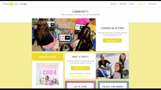 Community page for teen coders in action and more.
