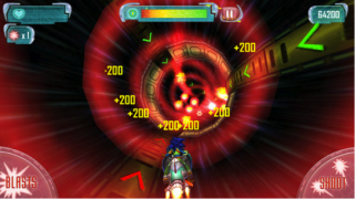 Players blast through hyperspace, shooting objects that get in their way to accumulate points.