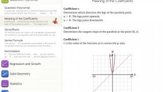 The formulas with lines, such as on a graph, can be manipulated.