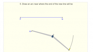 "Construction for ""Copying a line segment"" provides numbered instructions and animated diagrams that show how the protractor is moved and manipulated."