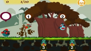 Gameplay screen showing addends 1 and 2, and possible sums 3 and 2 under baby birds.