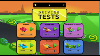 Kids take a Driving Test for quick skill practice. These can also be assigned by the teacher.
