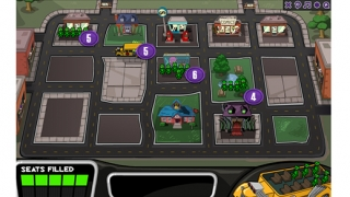Kids drive a school bus through monster neighborhoods trying to pick up enough kids to fill the bus.