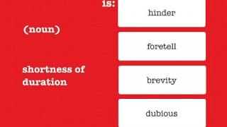 In the Definition Quiz, students get a definition and must choose the correct word.