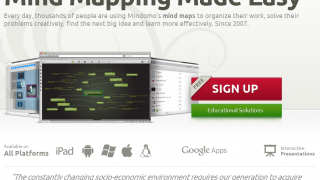 Mindomo's home page before login.