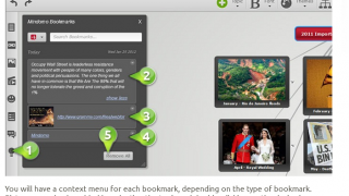 You can bookmark items online that you'd like to use later in a mind map.