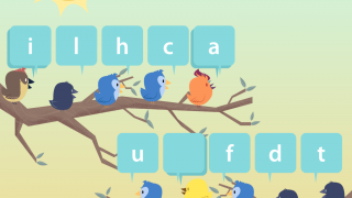 Slow-paced games require users to pick letters from a word bank to spell words in French.
