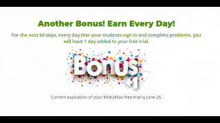 Bonus days are added to the free trial with student and teacher tasks.