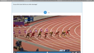 Real video clips (like this Olympic race) set the stage and garner real-world connections.