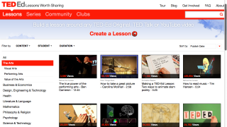More than 60 video lessons span three categories: Visual Arts, Performing Arts, Value of the Arts.