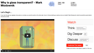 Each video includes quality questions (Think), related links (Dig Deeper), and response options (Discuss).