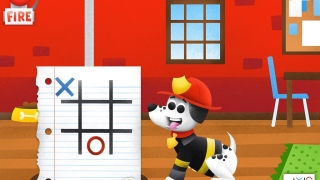 Play tic-tac-toe with a firehouse dog.